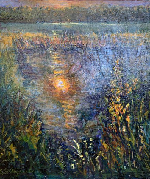 湿原の落陽